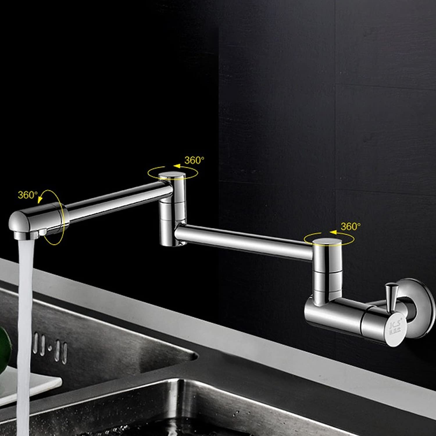 MEILING Full Copper Into The Wall Of A Single Cold Kitchen Faucet Sink Telescopic redating Faucet Folding Lengthened
