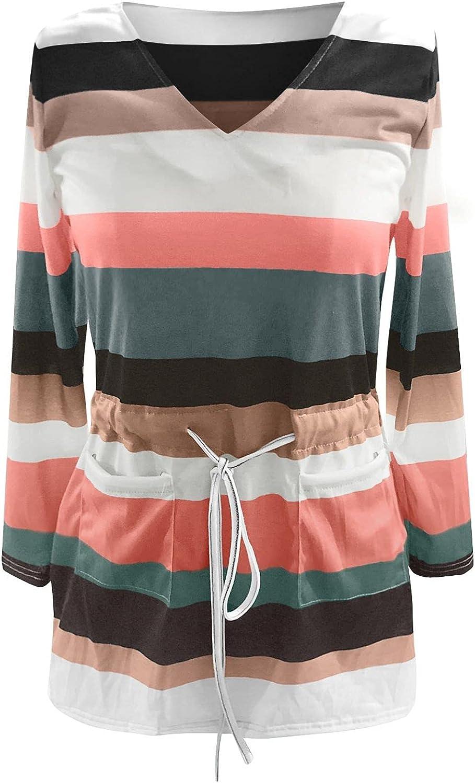 Dresses Maxi Dress Summer Dress Sundress Women Casual Long Sleeve V-Neck Stripe Elastic Waist Lace Loose Dress Green