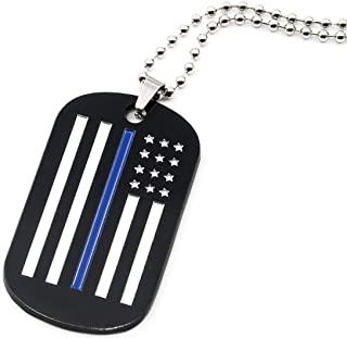 Thin Blue Line American Flag Dog Tag Necklace for Law Enforcement Police Officers Family Members - Jewelry Accessories Apparel Gifts for Police Officers Cops Men Women