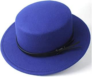 PengCheng Pang 2019 Women Men Flat Top Fedora Hat Outdoor Por Pie Travel Casual Wild Church Hat Wide Brim Jazz Fascinator Hat Size 56-58CM (Color : Blue, Size : 56-58)