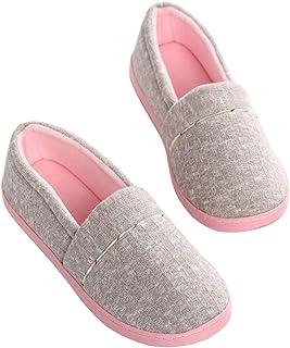 Zapatillas Cerradas de Estar para Mujer, Zapatos de Casa Ligeros y Holgados con Forro de Felpa para Mujer con Suela de Gom...