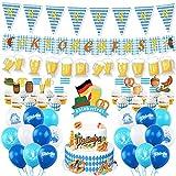 FHzytg 74 Stück Deko Oktoberfest Party, Oktoberfest Party Dekorationen Bayrisch Wiesn Dekoration, Oktoberfest Banner Luftballons Wimpel Bayern Flagge für Oktoberfest Bayrisch Wiesen Party Dekoration
