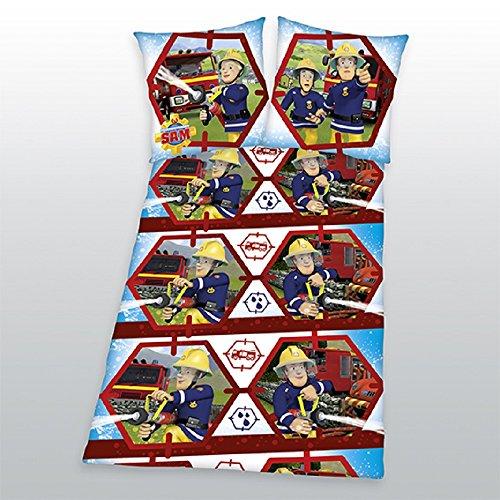 Sam le Pompier – Pompier – Parure de lit enfant – Parure de lit – witzige Parure de lit – Taille 80 x 80 cm, housse de couette : 135 x 200 cm/matériau : 100% Coton/lavable à 60 °C, Sèche-linge