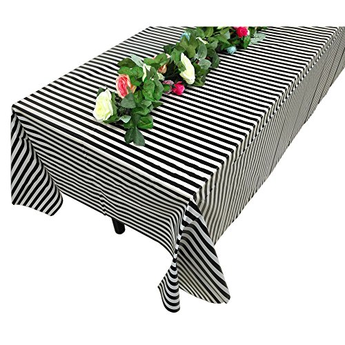 """Vpang 2 Pcs Striped Plastic Print Tablecloths Disposable Table Cover Thickened Rectangle Tablecover, Kitchen Picnic Wedding Birthday Party Table Covers, 54""""x108"""" (Black Stripe)"""