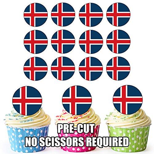 Essbare Cupcake-Dekoration mit Island-Flaggen-Motiv, kreisförmig vorgeschnitten, 24 Stück.