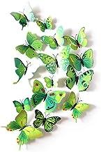 12 Stks Kleurrijke Vlinder 3D Muurstickers DIY Art Decor Ambachten Kamer Decoratie (Groen)