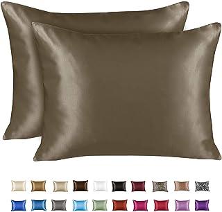 Best ShopBedding Luxury Satin Pillowcase for Hair – Queen Satin Pillowcase with Zipper, Pewter (Pillowcase Set of 2) – Blissford Review