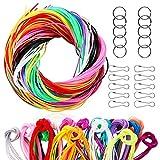 SOSMAR 200 Stück Scoubidou Bänder - neon Saiten Schnüre Strings mit 20pcs Schlüsselring Ring und Haken, für DIY Kunstwerk Handarbeit Schlüsselanhänger und mehr. (Rund/20 Farben x 10pcs/1M)