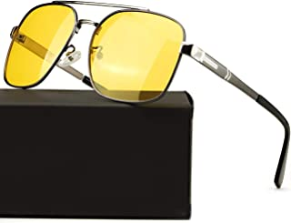 Night Driving Glasses Polarized Anti Glare Fog Rain HD Night Vision Glasses, Yellow Tint Lens for Men & Women