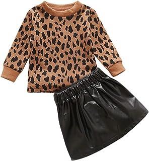 Verve Jelly Enfants BéBé Filles Hiver Jupe Outfit Ensemble Manches Longues LéOpard Pull Tops + Zipper en Cuir A-Line Jupe