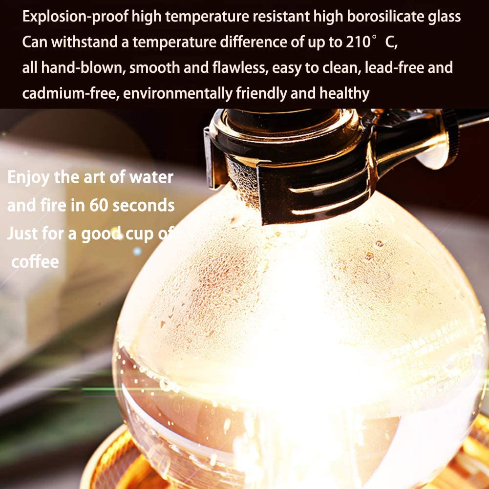Coffee Glas Siphon Siphon Vacuum Koffiezetapparaat Japanse stijl Siphon Koffiezetapparaat Tea Siphon Vacuum Koffiezetapparaat Glass Type Koffiezetapparaat Filter Thuiskantoor B