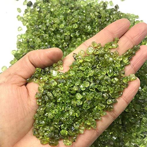 WOHAO Tragbare Schreibblock 100g 2-4mm Naturstein Perido Quarz Olivine Grün Glas Mineral Specimen Fels Chip Gravel Rau Rohedelstein D (Color : 100g 2-4mm, Size : -)