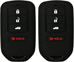 Alegender Qty(2) Black Silicone Smart Key Fob Cover Case Skin Protector for 2013 2014 2015 2018 Honda Accord EX EX-L Touring Civic 4 Buttons Smart Key Remote ACJ932HK1210A