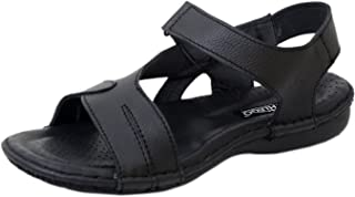 Athlego Leather Outdoor Sandals for Men in Black Color