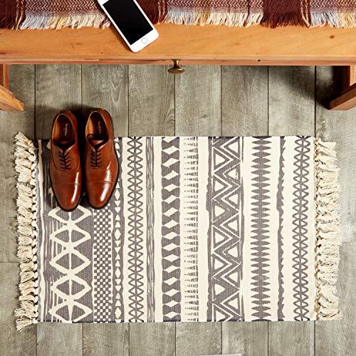 Hand Woven Area Rug with Tassels, Boho Home Décor (Beige, 2x3 Feet)
