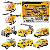 HERSITY 8 Piezas Mini Camiones y Helicoptero de Metal Juguetes Coches Pequeños Vehículos de Construcción Regalos para Niño Niña 3 4 5 Años