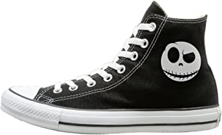 Candyy The Nightmare Before Christmas Dark Love Comfortable Unisex Flat Canvas High Top Sneaker Black