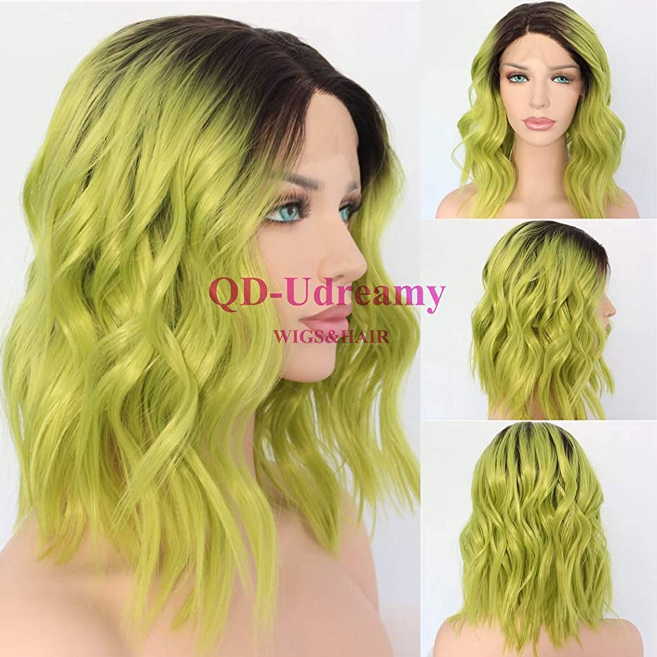 QD-Udreamy Brown Ombre Green Fashion Short Water Wave Hair Wigs Glueless Synthetic Lace Front Wedding Party Wig for Women Daily Makeup