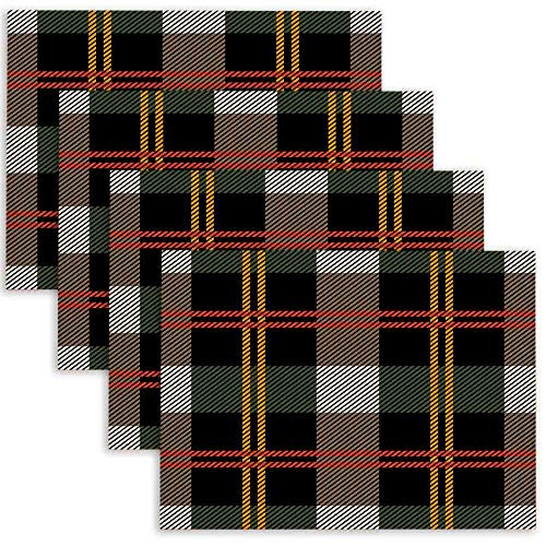 Douecish Halloween Placemats,Washable Classical Plaid Checkered Pattern Retro Textile Collection Grey Backgrounds Amp Table Placemats for Kitchen,Dining Table,Dining Room,18X12,Set of 4