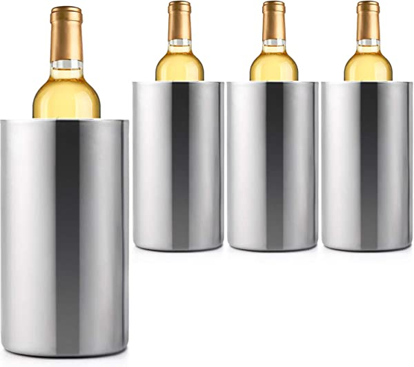 Jolitac 4 个装葡萄酒冷却器桶不锈钢双壁葡萄酒冷却器桶保持冷藏数小时葡萄酒瓶子冷却器冷却器隔热香槟啤酒冰桶 4 个