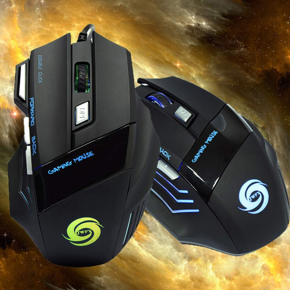 Gaming Professional Wired Mouse,800//1600//2400//3200DPI,USB Receiver 7 Buttons LED Lightings Mice,AcisuHu