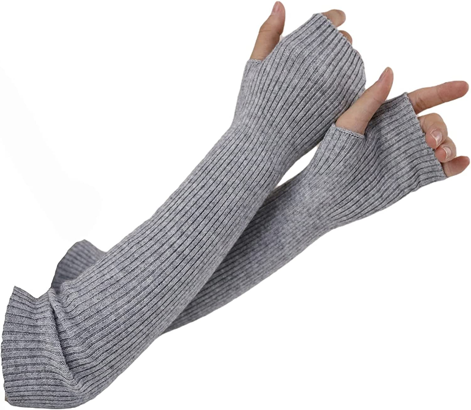 Arm Warmers Women, Facecozy Knit Warm Cashmere Blend Long Fingerless Gloves for Women Cold Weather Mittens with Thumb Hole