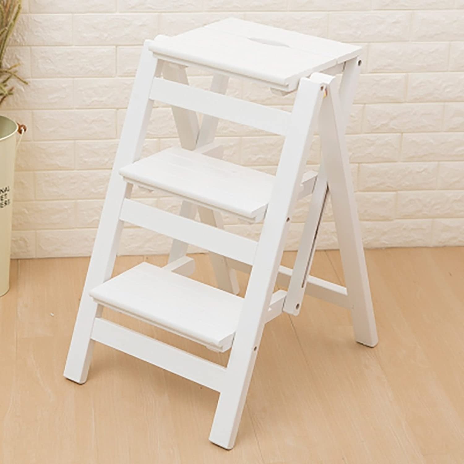 YQRYP Non-Slip Step Stool Step Stool Solid Wood,Folding Ladder Shelf 3 Steps-Flower Stand Household Multifunction Ascend Ladder Small Ladder Slip Resistant,Durable,Household,Outdoor (color   2 )