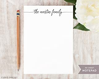 FLOWING SCRIPT NOTEPAD - Personalized Calligraphy Family Handlettered Customized Stationery/Womens Girls Stationary Note Pad