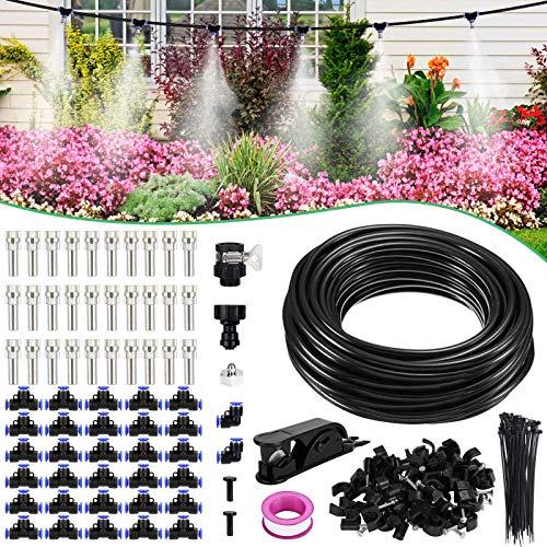 XDDIAS Kit Nebulizador Jardín, Sistema de Enfriamiento Nebulización Kit de Nebulización con 30 Boquillas para Exteriores, Difusor de Agua Terraza (24m)