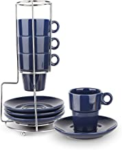 Espresso Cups and Saucers Set of 4 with Stand Rack,9-piece Porcelain Stackable Espresso Mugs, 3.3oz(95ml) Demitasse Cups f...