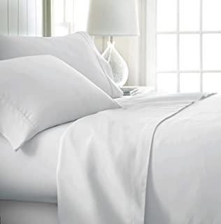 Twin Extra Long Sheets for Dorm Bedding-400 Thread Count - 100% Cotton Sheets - Specially Designed for Dorm Beds - Deep Pocket from 10-15 inches (White Solid,(38 x 80) Twin - XL)