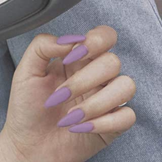 Adflyco Matte Stiletto Fake Nails Purple Long Press on Nails Artificial Full Cover False Nails for Women and Girls (24Pcs)