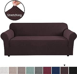 H.VERSAILTEX Stretch Sofa Slipcovers Sofa Covers Extra Large Sofa Covers 1 Piece Sofa Cover for Lounge, Super Spandex Jacquard Fabric Small Checks XL Sofa Slipcover (4 Seater Oversize, Chocolate)