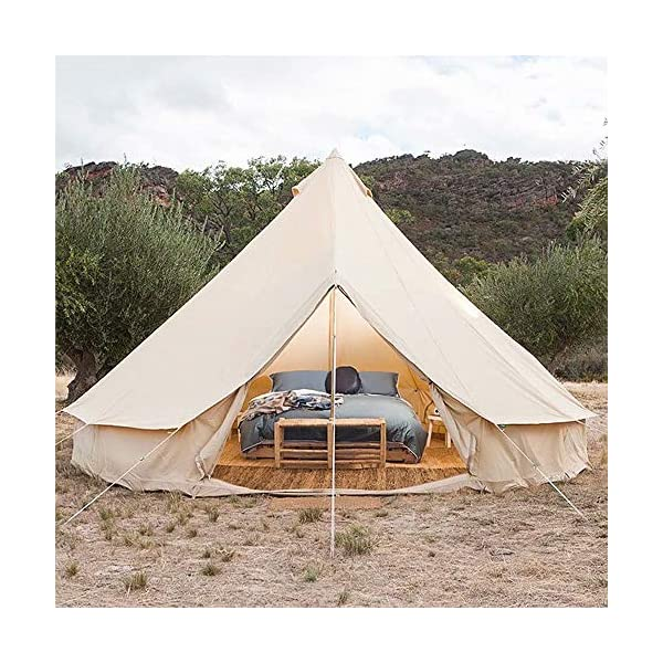4 Season Bell Tent Outdoor Family Camping Waterproof Bell Tent with Zipped for Family Camping Outdoor Hunting 6