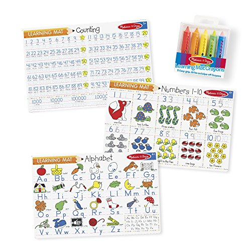 Melissa & Doug Alphabet and Numbers Placemats (Set of 3 Double-Sided Mats) With 5 Wipe-Off Crayons