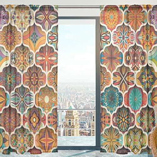 Mnsruu - Tende in voile con motivo floreale etnico mosaico marocchino in morbido tulle per soggiorno, camera da letto, 140 x 198 cm, 2 pannelli