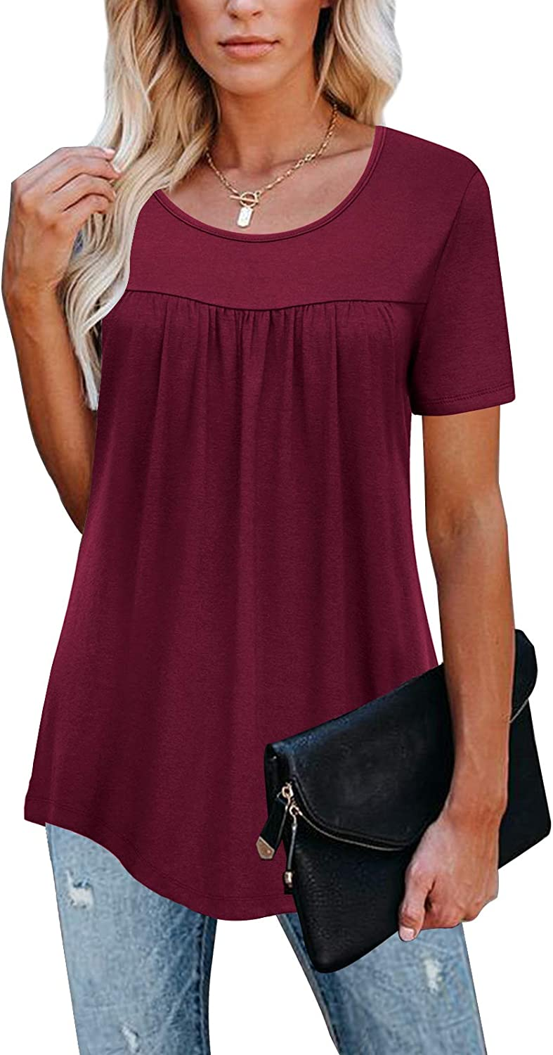 LEANI Women's Short Sleeve Tunic Tops Round Neck Loose Soft Pleated Blouse T-Shirts
