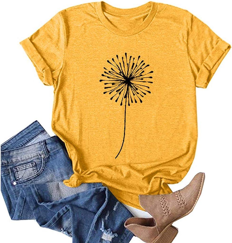 POLLYANNA KEONG Cute Summer Tops for Women Short Sleeve,Womens Round Neck Dandelion Sunflower Printed Top Casual Blouse