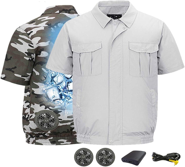 Finebuying Sommer Camouflage Klimaanlage Kurzarm Weste, Outdoor-Arbeitskleidung mit Fan verhindern Hitzschlag, Sonnenschutzkleidung Atmungsaktiver Anzug zum Angeln, Wandern, Laufen