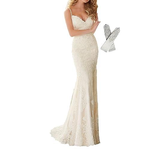 7441608ad3b Datangep Women s Spaghetti Straps V-Neck Lace Applique Mermaid Wedding Dress