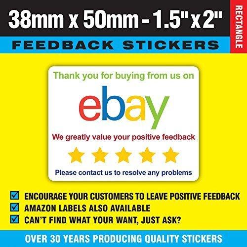 Ebay Farbe Thank You Für Dein Kaufen Rückmeldungen Aufkleber / Etikett - Packung / Umschlag / Box / Post Etikett - Ideal Für Gebrauch Mit A4 Integriert Inkjet Adresse / Post / Versand / Rechnung Etike