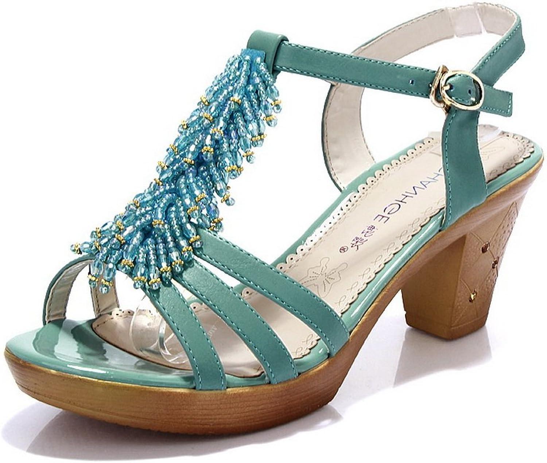 AdeeSu Womens Charms Chunky Heels Metal Buckles Urethane Heeled Sandals SLC03636
