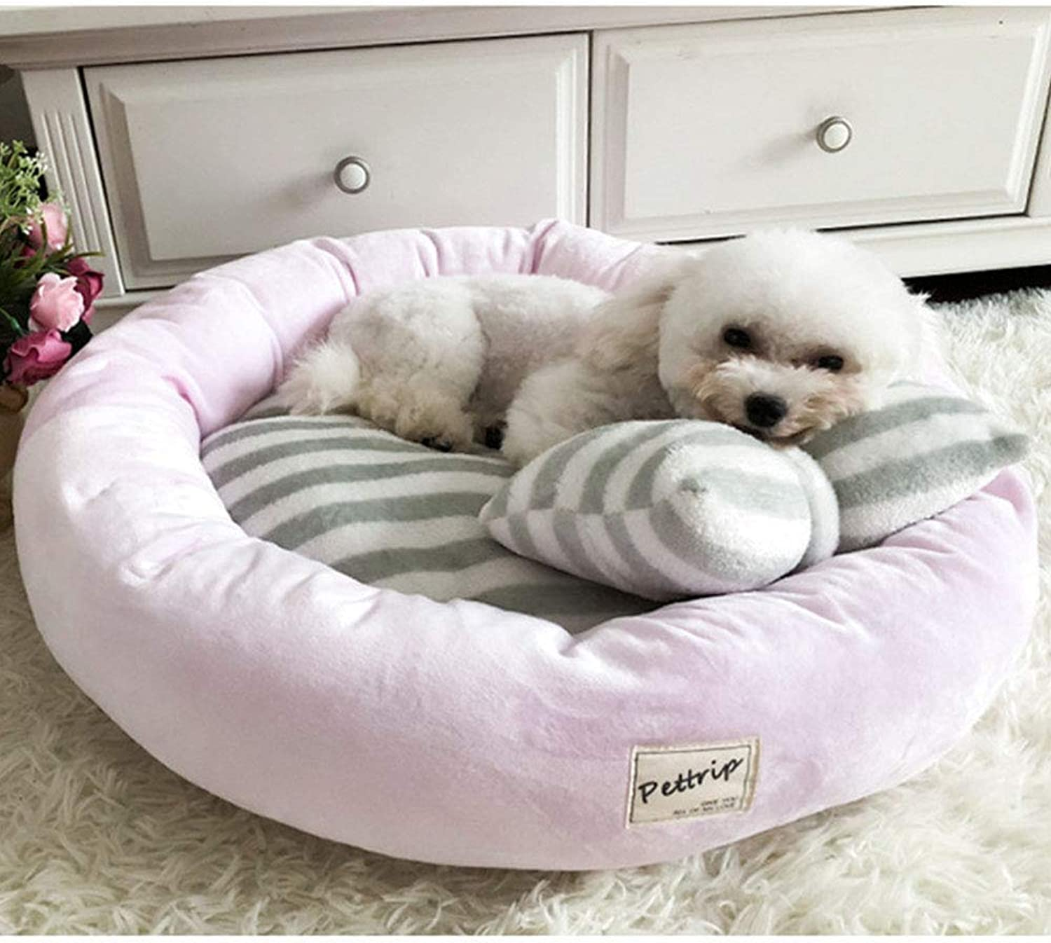 Pet Dog Bed Mats Round, Puppy Pads Warm Velvet Soft Lounger Sofa for Kitten Puppy with Pillow Four Seasons Universal,Pink,L