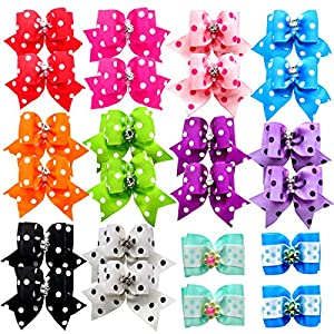 YOY 24 pcs/12 Pairs Adorable Grosgrain Ribbon Pet Dog Hair Bows with Elastic Rubber Bands – Doggy Kitty Topknot Grooming Accessories Set for Long Hair Puppy Cat