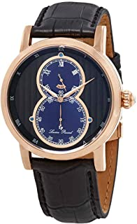 Men's 'Infinity' Quartz Stainless Steel and Leather Watch, Color:Black (Model: LP-40044-RG-01-BLA)