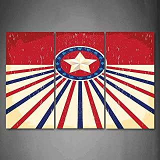 Hanging Wall Art Oil Painting 3 Panel,Texas Star 3D Picture Print,Vintage Stripes and Grunge Liberty and Freedom Themed USA Image,Home Decoration Wall Decor Gift,Vermilion Beige Navy Blue ,Indoor/Livi