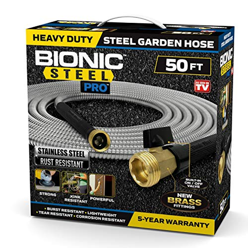 Bionic Steel PRO Garden Hose - 304 Stainless Steel Metal 50 Foot Garden Hose – Heavy Duty Lightweight, Kink-Free, and Stronger Than Ever with Brass Fittings and On/Off Valve – 2021 Model
