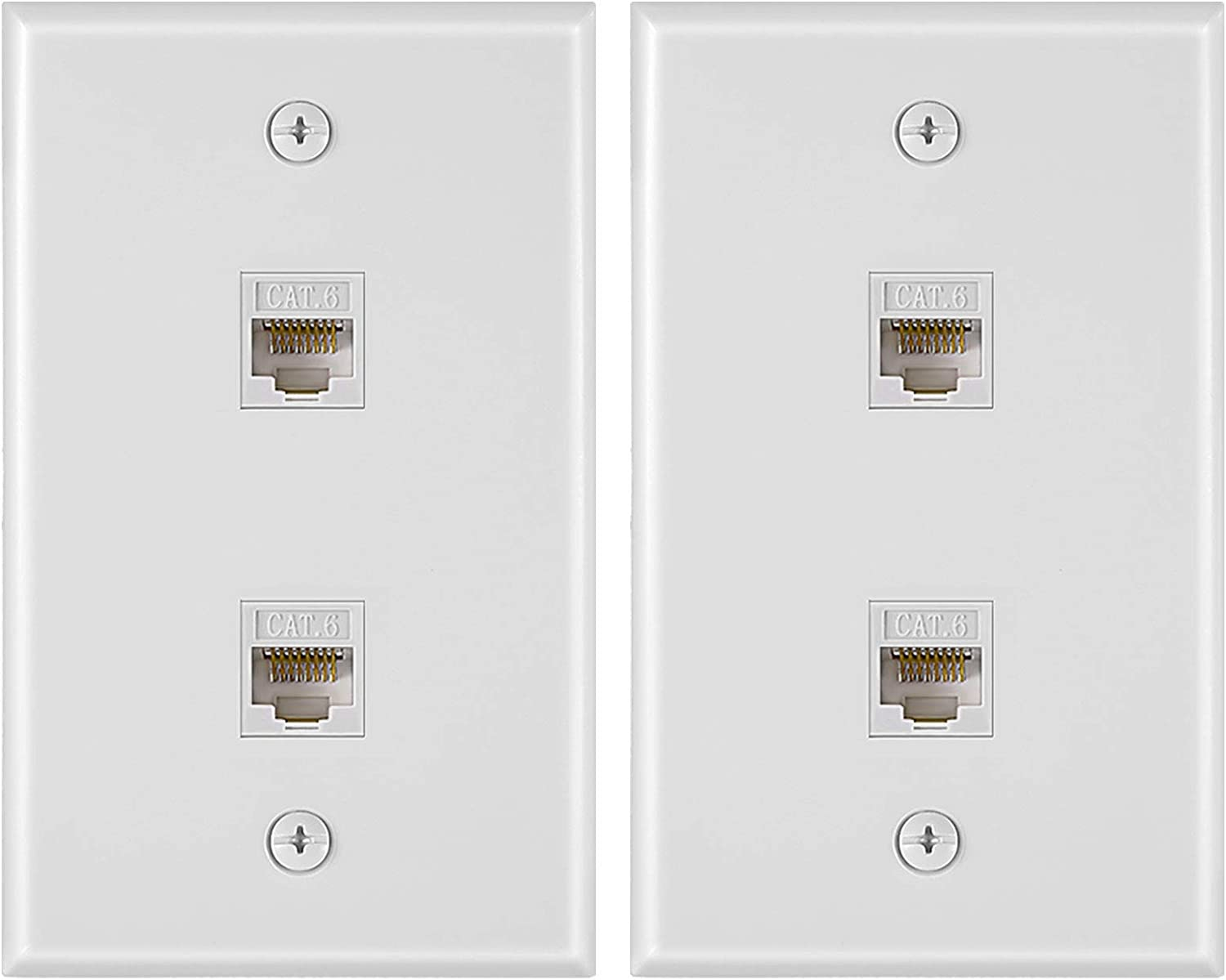 2 Pieces 2 Port Ethernet Wall Plate, Cat6 RJ45 Network Cable Pla