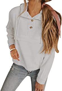2019 Women's Short Sweatshirt Solid Color Button up Neck Long Sleeves Drawstring Hoodie