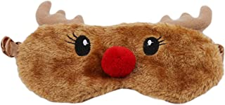 LALANG Brown Red Nosed Reindeer Eye Mask Cute Travel Sleeping Shade Nap Cover Mask